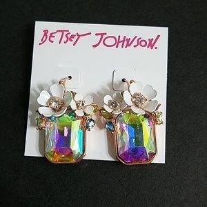 Betsey Johnson white flower earrings